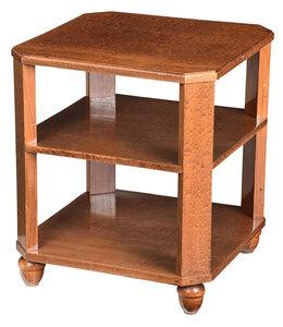 Art Deco Figured Mahogany Three Tier Side Table