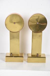 Pair of Art Deco Brass Andirons