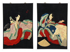 Pair Japanese Art Deco Lacquer Wall Panels