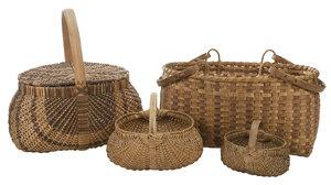 Four Cherokee Oak Split Handled Baskets