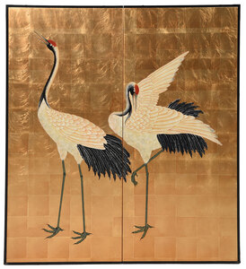 Japanese Two Panel Screen with Crane Decoration