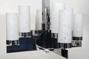 Art Deco/Modern Eight Light Chandelier