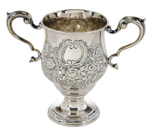 Irish George II Silver Two Handle Cup