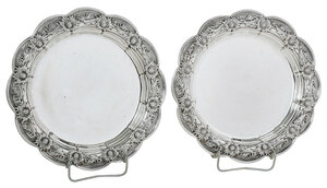 Two Tiffany Chrysanthemum Sterling Plates
