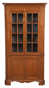 Southern Federal Style Inlaid Corner Cupboard