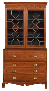 Rare Southern Federal Walnut Secretary Bookcase
