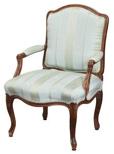 Provincial Louis XV Carved Walnut Open Armchair
