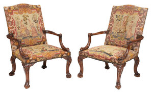 Good Pair George II Style Carved Library Chairs