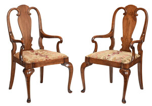 Pair Queen Anne Style Shepherd's Crook Armchairs