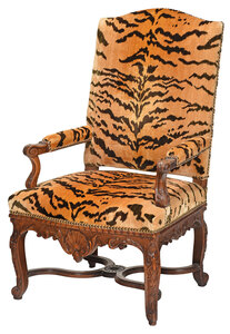 Louis XV Style Carved Walnut Open Armchair