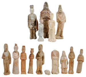 14 Early Chinese Earthenware Burial Figures