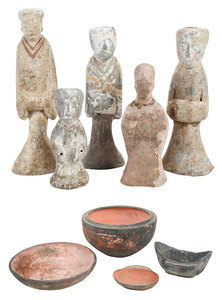 Nine Early Chinese Earthenware Burial Items