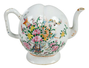 Chinese Famille Rose Porcelain Peach Form Cadogan