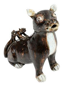 Chinese Glazed Porcelain Dog Figural Group