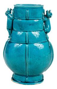 Chinese Turquoise Glazed Archaic Style Hu Vase