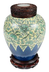 Chinese Famille Verte and Blue Porcelain Jar