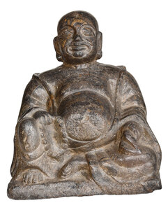 Chinese Carved Stone Figure of Seated Buddha