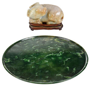 Chinese Carved Stone Water Buffalo and Plate