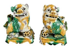 Pair of Chinese Sancai Glazed Foo Dogs