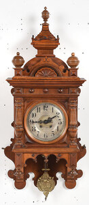 Furtwangler & Son Carved Walnut Wall Clock