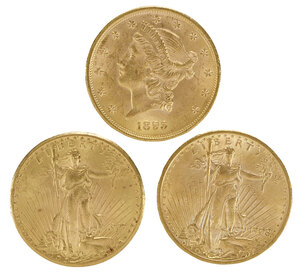Three Gold $20 Double Eagle Coins