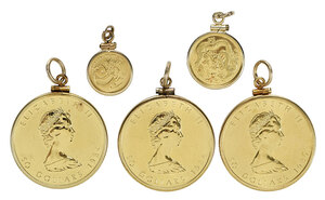 Three Gold Maple Leafs, Two Gold Asian Coins