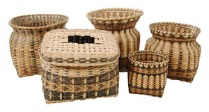 Five Agnes Welch Cherokee Baskets
