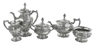 Five Piece Sterling Stieff Repousse Tea Service