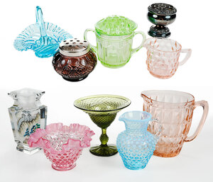 11 Assorted Colored Glass and Metal Table Objects