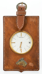 Jaeger LeCoultre Leather and Brass Mounted Clock