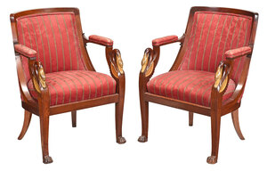 Pair Empire Style Swan Figural Open Armchairs