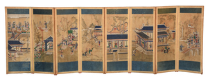 Chinese Eight Panel Painted Screen
