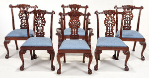 Set Six Chippendale Style Carved Dining Chairs
