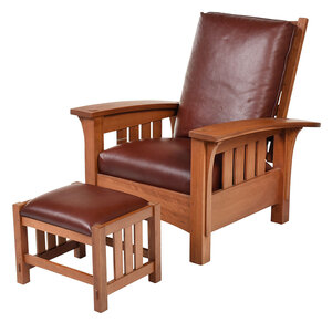 Contemporary Stickley Morris Chair and Footstool