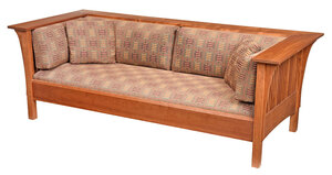 Arts and Crafts Style Stickley Cherry Settle