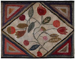 American Folk Art Hooked Wool Rug
