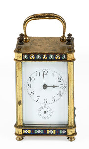 Aesthetic Movement Enameled Brass Carriage Clock