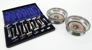 Silver Plate Wine Coasters and Asparagus Servers