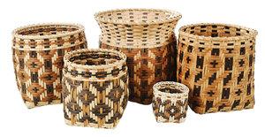 Five Carol Welch Cherokee Baskets