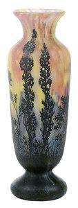 Daum Nancy Art Glass Cameo Landscape Vase