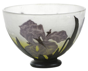 Daum Nancy Cameo Art Glass Iris Bowl