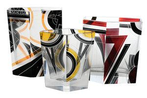 Three Czech Art Deco Enameled Glass Vases