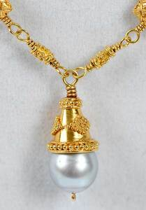 Gold Granulated Bead and Pearl Necklace