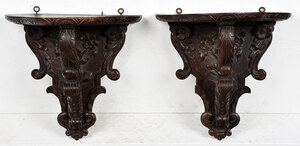 Pair Victorian Style Carved Wood Wall Brackets