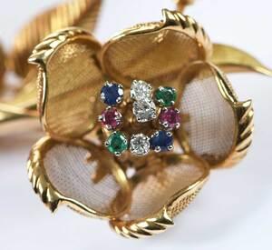 18kt. Gemstone Flower Brooch