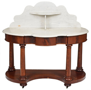 Classical Mahogany Marble Top Table