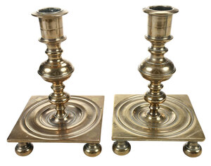 Near Pair North European Brass Candlesticks