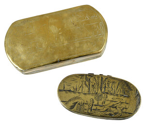 Two Dutch Engraved Brass Tobacco Boxes