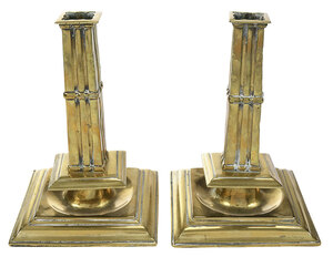 Pair of Brass Cluster Column Candlesticks
