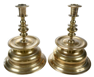 Pair German Brass Bell Base Candlesticks